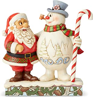 Enesco Frosty the Snowman by Jim Shore Santa and Frosty with Candy Cane Figurine