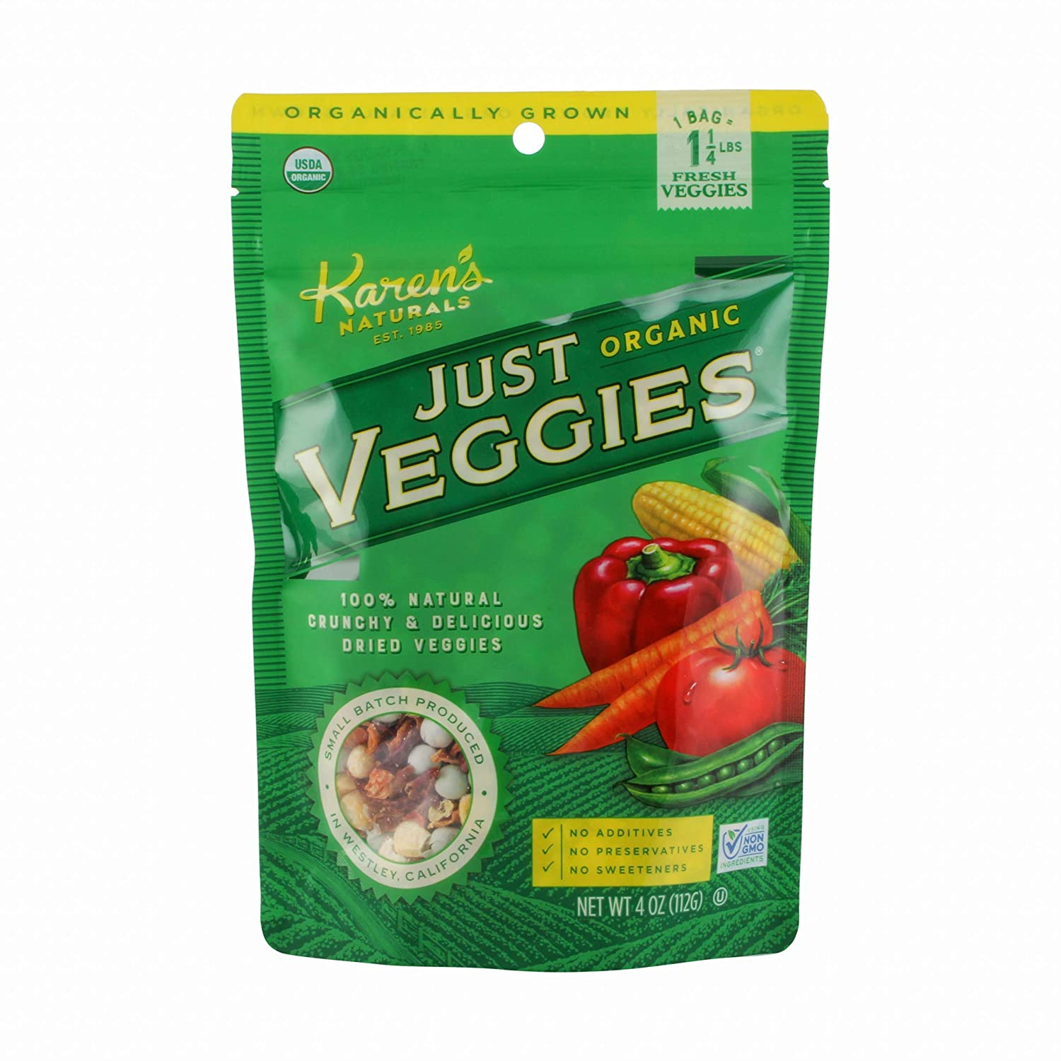 Karen's Naturals Organic Just Veggies, 4 Ounce Pouch (Packaging May Vary) Organic All Natural Freeze-Dried Fruits & Vegetables, No Additives or Preservatives, Non-GMO