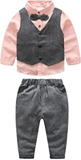 JIANLANPTT 3pcs Baby Boy Gentleman Set Vest Shirt and Pant Formal Suit