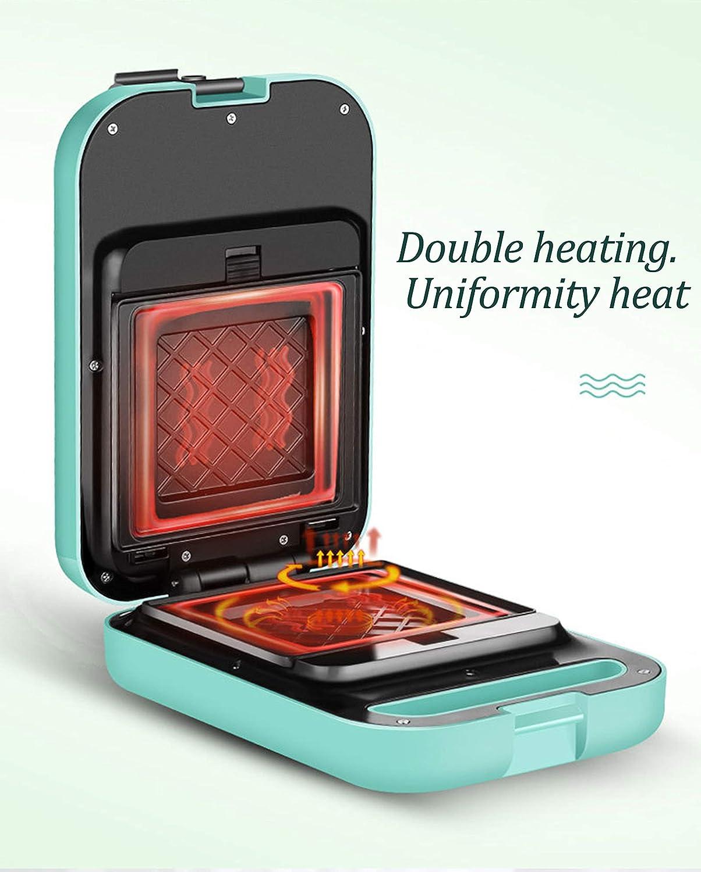 Gaufre électrique plaque de cuisson gaufre crêpe plaque de cuisson profonde revêtement antiadhésif, alliage d'aluminium, 600 W, 270 * 180 * 100 MM-Pink Black