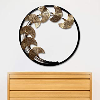 Craftter Metal Copper Leaves in Round Frame Wall Art, Brown, Copper, Dia : 22 inch