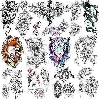 Feelairy 10 Blätter Temporäre Tattoos Schwarz Große 3D Bl