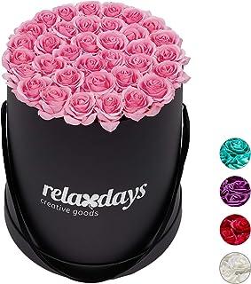 Relaxdays Boîte Ronde, 34, Bac Noir, conservable 10 Ans, Idée Cadeau, Rose, Carton, Tissu, PP, Rosa, 33 x 32 x 32 cm