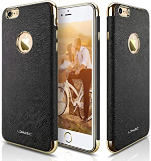 LOHASIC iPhone 6s Case, iPhone 6 Case, [Vintage Leather] Modern Textured Grip Cover Electroplate Frame [Slim Fit] Flexible Soft Cases Shockproof Compatible with iPhone 6s & iPhone 6 - [Black]