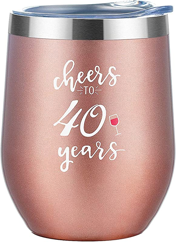 40 Years Old Birthday Gifts For Women 12 Oz Rose Gold Insulated Wine Tumbler With Lid And Straw 40 Milestone Birthday Anniversary Gift And Party Supplies For He Friend Coworker Sister