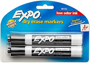 EXPO Low Odor Dry Erase Markers, Chisel Tip, Black, 2 Pack
