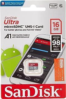 SanDisk 16GB Ultra microSDHC, C10, A1, UHS-1, 98MB/s R, 4x6, 10Y - SDSQUAR-016G-GN6MN