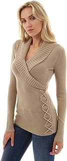 Women Shawl Collar Faux Wrap Lace Up Sweater