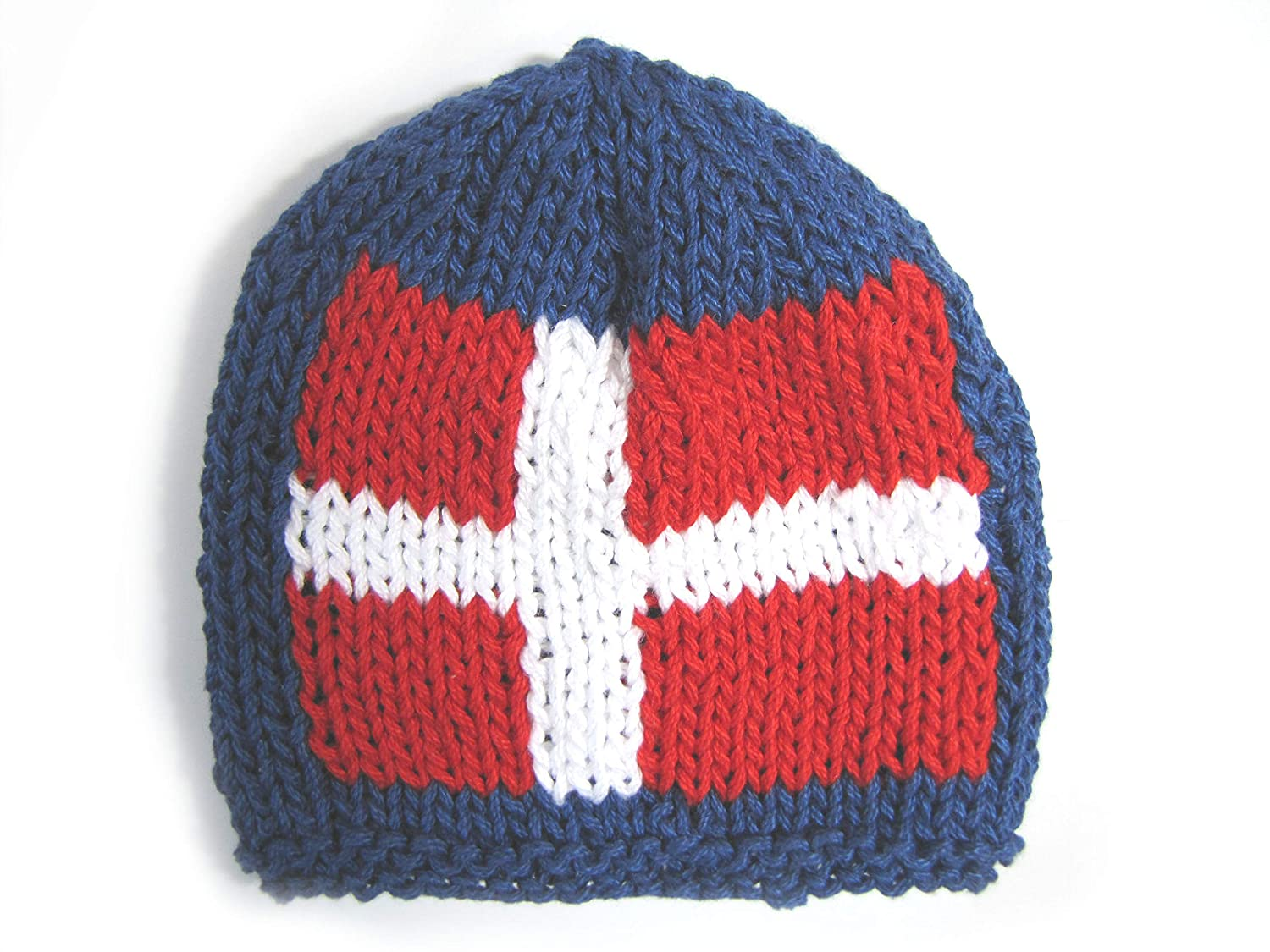 KSS supreme Handmade 5% OFF Small Navy Baby Beanie with a Danish Flag 0-3 13