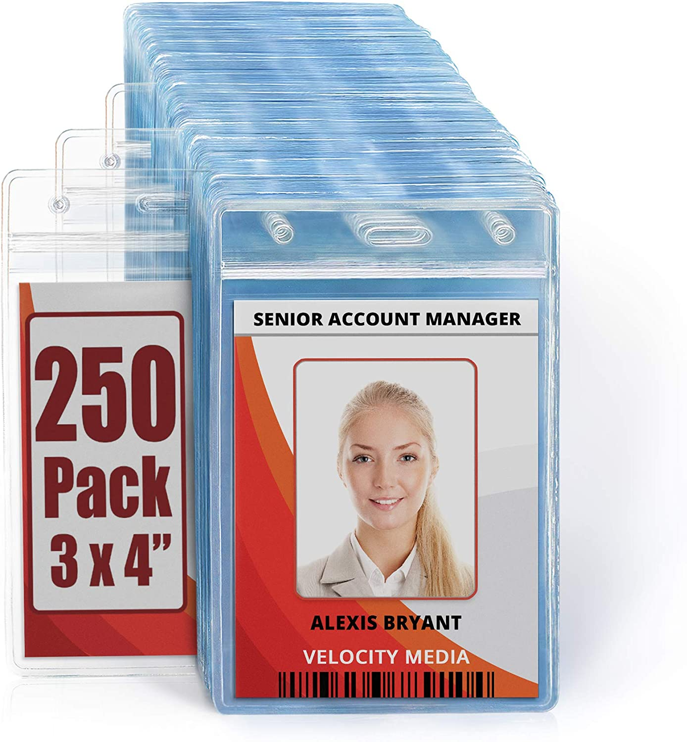 MIFFLIN Large L Vertical ID Badge 25 inch Holders Clear Free shipping on posting reviews 3x4 Miami Mall
