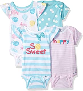 Gerber Baby Girls' 4-Pack Short-Sleeve Onesies Bodysuit