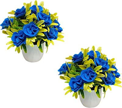Litleo Set of 2 Great for Home Office , Gift Artificial Flowers (Light Blue)