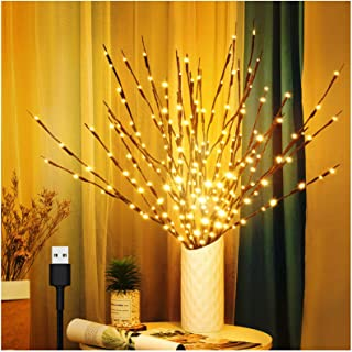 3 Pack Branch Lights for Vase, Warm White Lighted Twig Branches 60 LED Lights Artificial Tree Willow Lighted Branches for ...