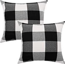 Lewondr Checkered Throw Pillow Cover, 2 Pack Breathable Wrinkle-Resistant Linen Throw Pillow Protector Plaid Cushion Cover Home Decor 18 x 18 Inch - Black&White