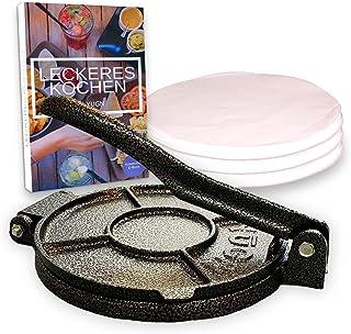 YUGN® Presse à tortilla Roti Maker - 100 x papier sulfurisé - 19 cm