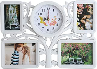 KARMAS PRODUCT Collage Wall Hanging Photo Frame Tree Type 4 Openings Picture Frame for Home Gallery Decorative, Two 4x6 and Two 7x5 inch with One Clock, White