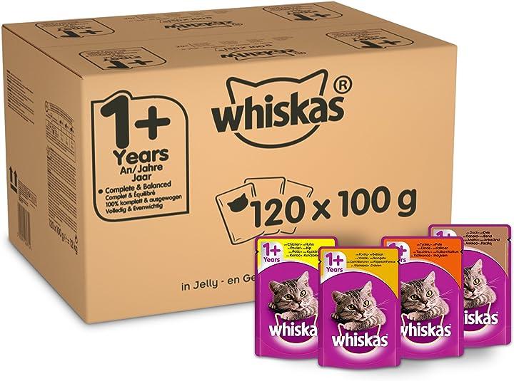Cibo per gatti whiskas 1+ cibo umido per gatti per gatti adulti, 120 buste (120 x 100 g) 369841