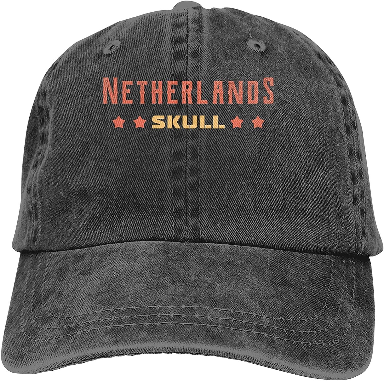 Netherlands Skull Baseball Cap Trucker Hat Retro Cowboy Dad Hat Classic Adjustable Sports Cap for Men&Women Black