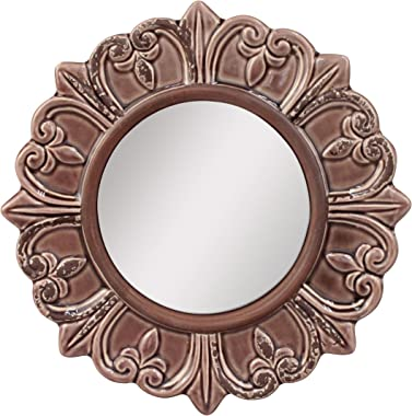 Stonebriar Decorative Round Burnt Umber Ceramic Wall Mirror Elegant Home Décor for Living Room, Kitchen, Bedroom, or Hallway,