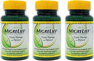 MigreLief Original Formula Triple Therapy with Puracol, 60 Count (Pack of 3)