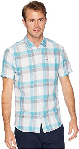 Check Linen Short Sleeve Button Down Shirt
