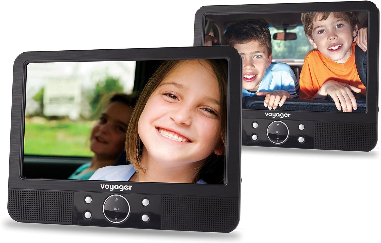 Voyager Tragbarer Dvd Player 22 8 Cm 9 Zoll Lcd Display Mit 2 Playern Inkl Auto Halterungen Und Zubehör Schwarz Audio Hifi