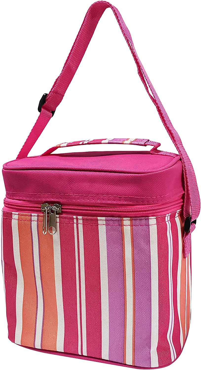 Reusable Insulated Lunch Bag for Office Work School Picnic Beach (Pink Stripes)