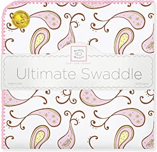 SwaddleDesigns Ultimate Swaddle, X-Large Receiving Blanket, Made in USA Premium Cotton Flannel, Pastel Pink Paisley (Mom's Choice Award Winner)