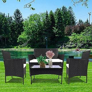 Bigzzia 4 Pieces Patio Furniture Sets Loveseat PE Wicker...