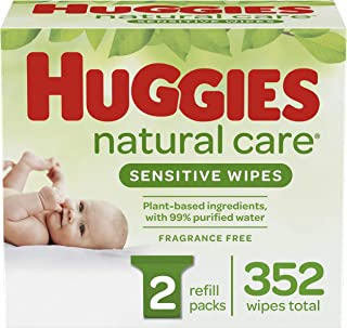HUGGIES Natural Care Baby Wipes, 2 Packs, 352 Total Wipes