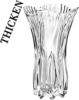 """Slymeay Flower Vase Large Size Phoenix Tail Shape Thickened Crystal Glass for Home Decor, Wedding or Gift - 10"""" High x5 Wide,with Color Box"""