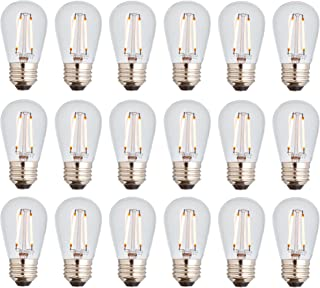 Newhouse Lighting S14LED18 Outdoor 2W S14 Vintage LED Filament Replacement String Light Bulbs Standard Base, 18-Pack, Dimmable, Clear