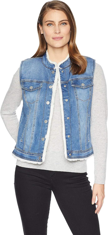 Tribal Womens Reversible Jean Vest Faux Fur Lining