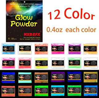 HXDZFX Glow in The Dark Pigment Powder Luminous Powder(Set of 12 Packs 0.4oz Each) Safe Non-Toxic,for Slime,Nails,Epoxy Resin,Acrylic Paint,Halloween,Fine Art and DIY Crafts (12 Colors 0.4oz Each)
