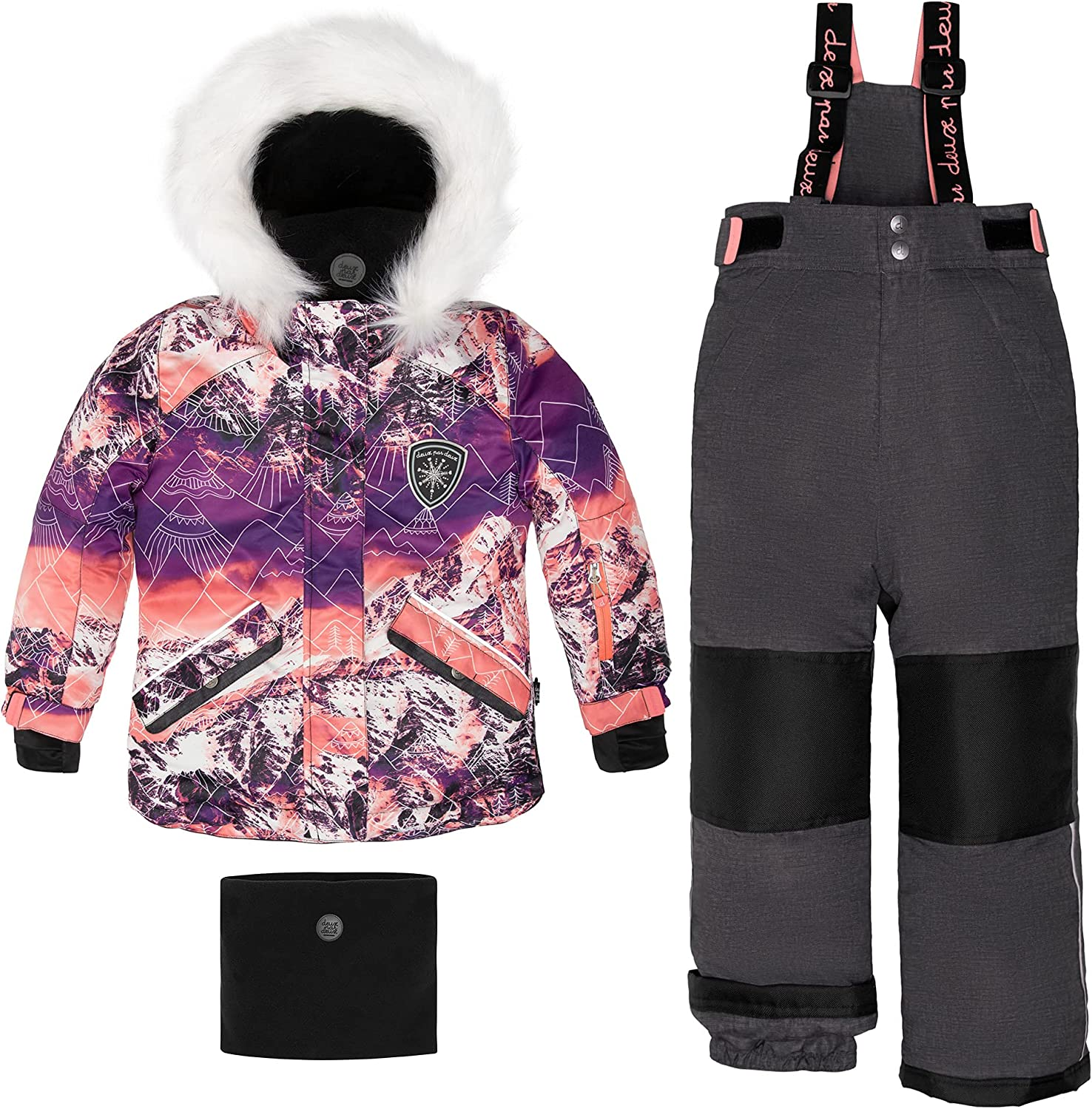 Deux par Deux Two-Piece Snowsuits Girl Kids Magical Hour Purple and Pink Mountains Print and Grey Texture 6 Years