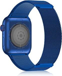 Compatible with Apple Watch Bands 38mm 40mm 41mm, Magnetic Metal Band Stainless Steel Mesh Milanese Loop Compatible for iWatch SE Series 7 6 5 4 3 2 1 for Men Women, Blue 38mm 40mm 41mm