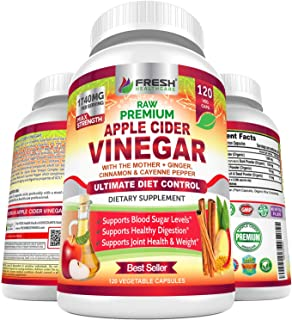 Premium Apple Cider Vinegar Pills Max 1740mg with Mother - 100% Natural & Raw with Cinnamon, Ginger & Cayenne Pepper - Ide...