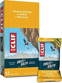 Clif Bars - Sweet & Salty Energy Bars - Peanut Butter & Honey with Sea Salt - Made with Organic Oats - Vegetarian Food - K...