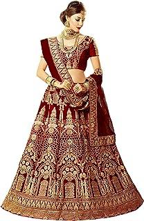 shaktikrpura Creation Women's Silk Semi-stitched Lehenga Choli (Maroon_Free Size)