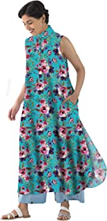 RADANYA Floral Pattern Sleeveless Casual Long Tops Tunic Kurti with Round Bottom for Womens