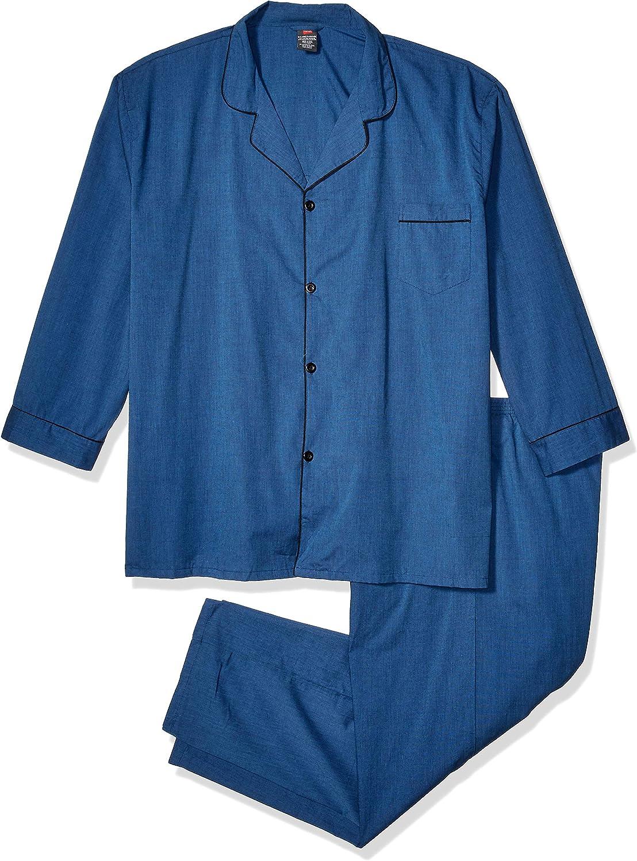 Hanes Big Men's Broadcloth Pajama Set
