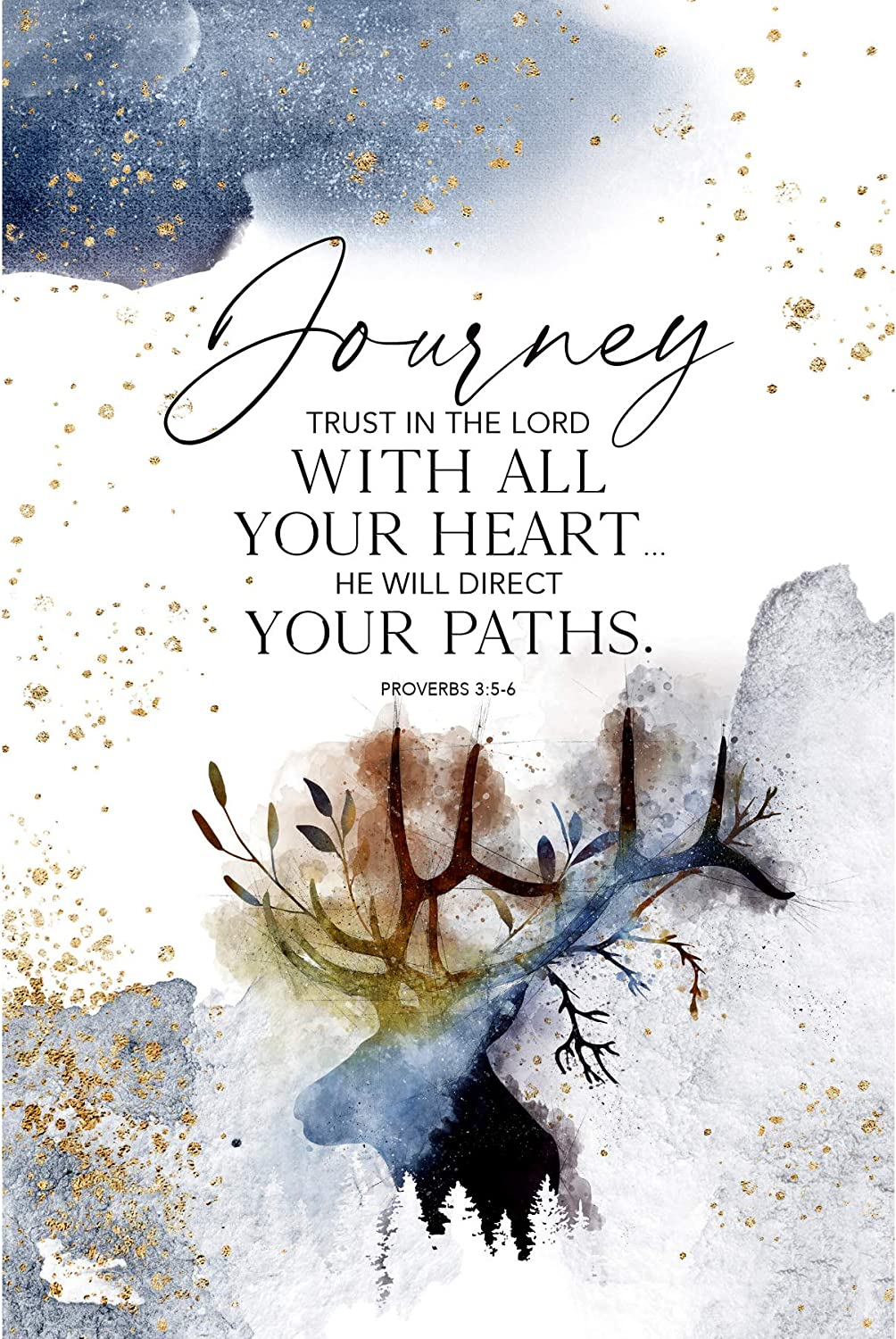 Journey Trust in The Lord Wood Plaque with Inspiring Quotes 6 inches x 9 inches - Elegant Vertical Frame Wall & Tabletop Decoration   Easel & Hanging Hook   He Will Direct Your Paths. Proverbs 3:5-6
