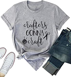ZJP Women rafters Gonna Craft Letter Print Casual Crew Neck Short Sleeve T-Shirt