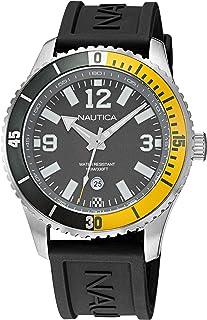 Nautica Men's Stainless Steel Quartz Silicone Strap, Black, 22 Casual Watch (Model: NAPPBS165)