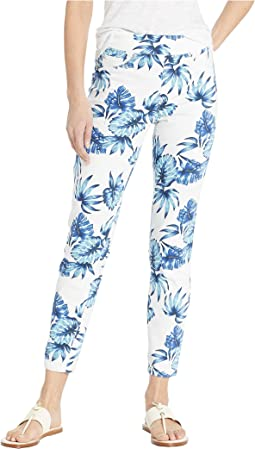 Printed Stretch Twill Pull-On Ankle Leggings