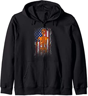 USA Patriotic Halloween - Distressed Skeleton American Flag Zip Hoodie