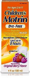 Children's Motrin Oral Suspension Dye-Free Berry, Ibuprofen, Fever Reducer, 4 Oz