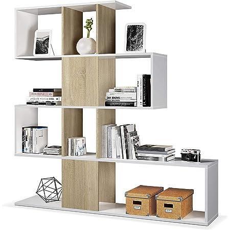 Habitdesign Estantería Librería, Salón, Comedor o Despacho, Modelo Zig-Zag, Acabado en Blanco Artik y Roble Canadian, Medidas: 145 cm (Alto) x 145 cm ...