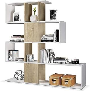 Habitdesign Estantería Librería Salón Comedor o Despacho Modelo Zig-Zag Acabado en Blanco Artik y Roble Canadian Medi...