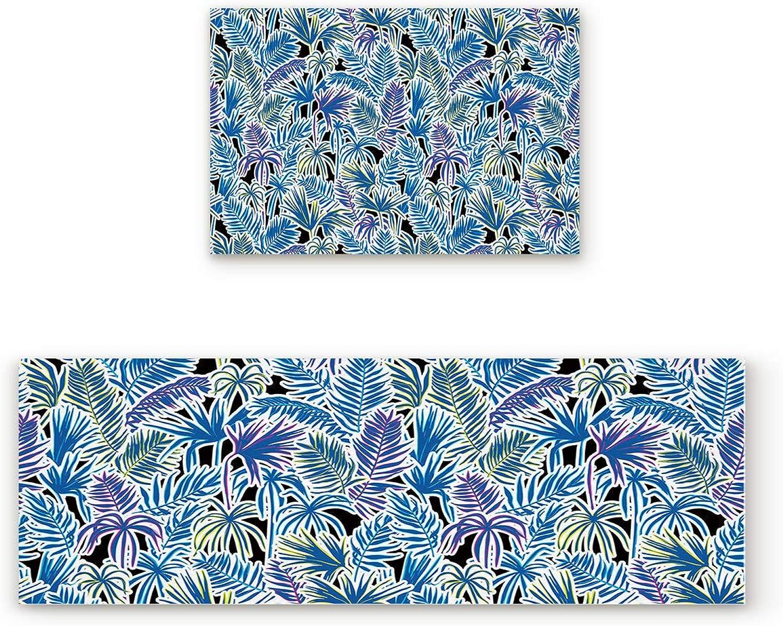 SODIKA Non Slip Kitchen Rug Set 2 Piece, Floor Mat Carpet Runner,Tropical Plant Leaves (19.7x31.5in+19.7x63 inches)
